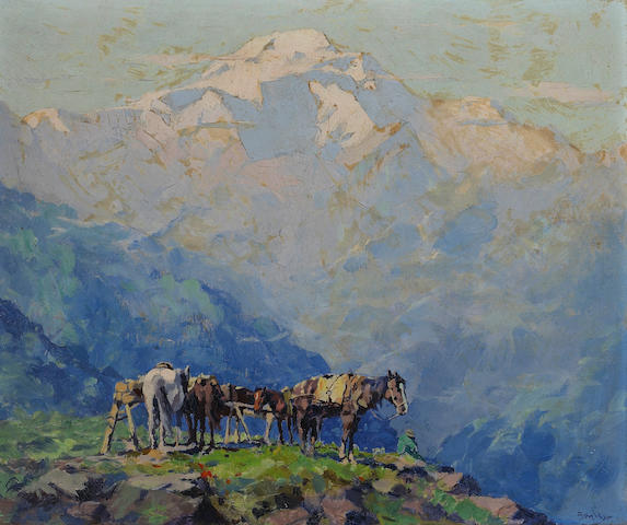 Eustace Paul Ziegler (American, 1881-1969) Mt. McKinley (Denali - House of the Sun) 10 x 12in