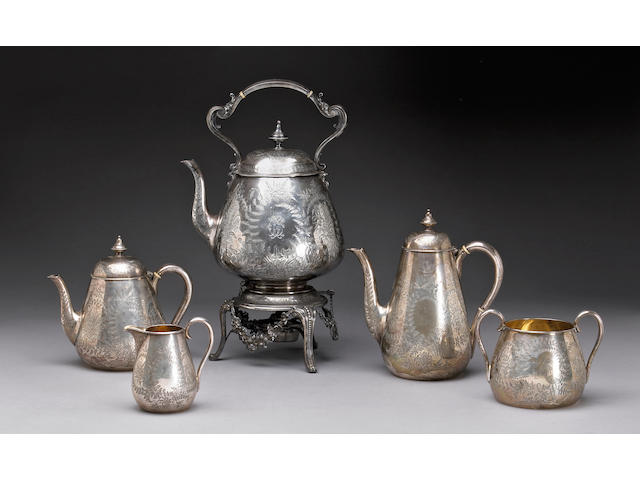 Victorian Silver Five Piece Tea and Coffee Set with Presentation Inscription