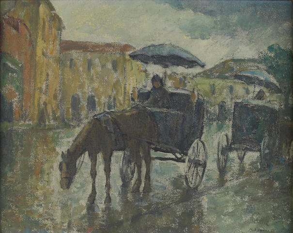 Mischa Askenazy (Russian/American, 1888-1961), Horse and  Carriage on a Road 16 x 20in