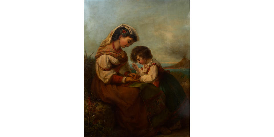 Louis Lang (American, 1814-1893) Mother and Child 33 1/2 x 27in