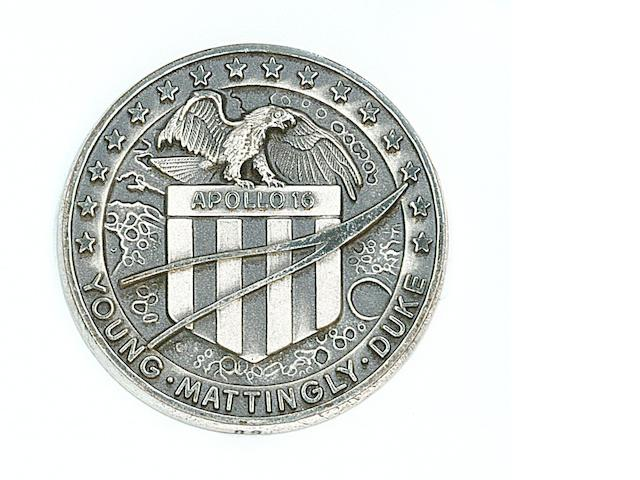 ONE OF ONLY 98 ROBBINS MEDALLIONS CARRIED ON APOLLO 16.