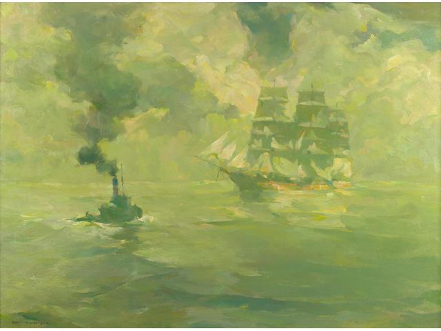Armin Hansen (American, 1886-1957) 'Wanderer of the Past' 26 1/2 x 36in