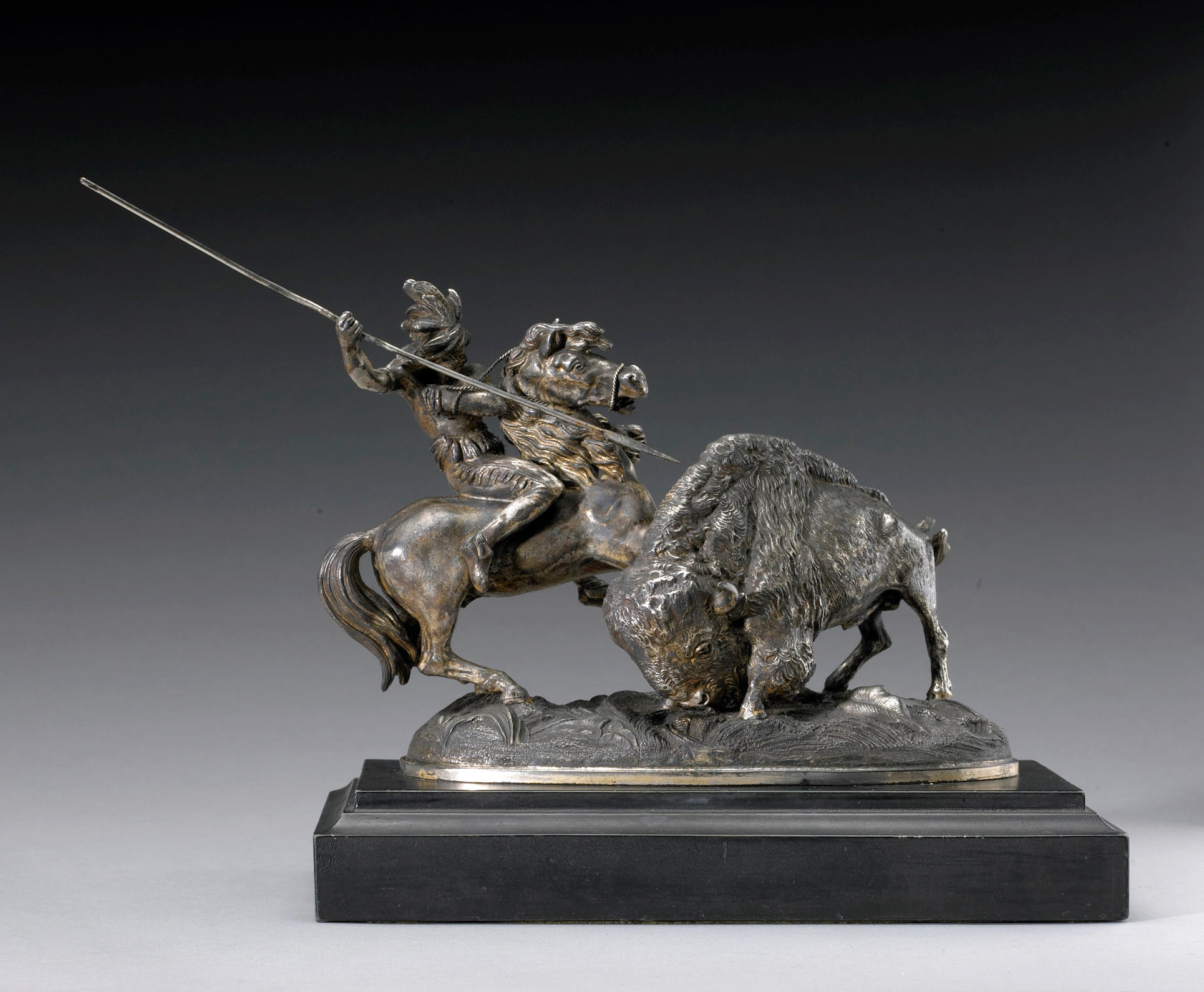 Meriden Britannia buffalo hunt sculpture