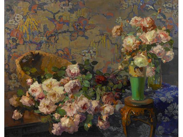 Franz A. Bischoff (1864-1929) 'Roses' 40 x 50in