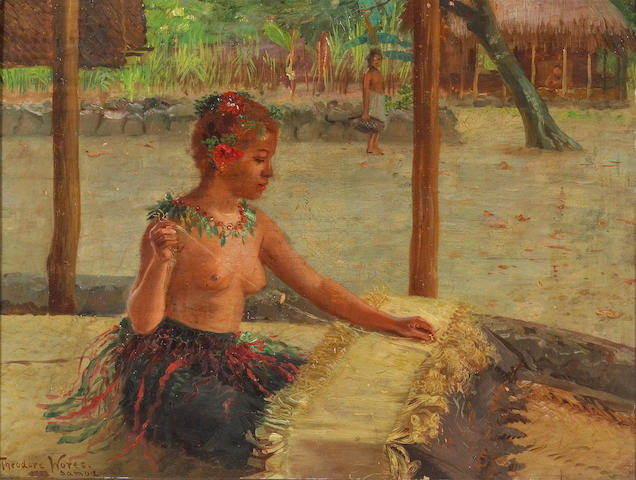 Theodore Wores (1859-1939) 'A mat weaver in Samoa' 14 3/4 x 19 3/4in