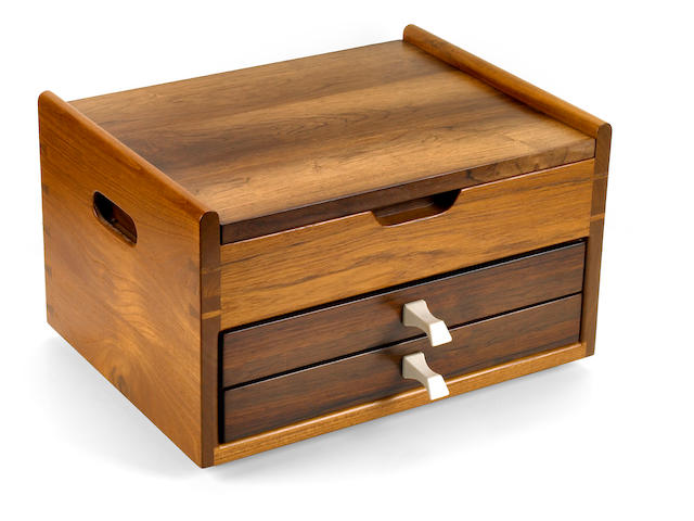 John Nyquist teak, Brazilian rosewood and ivory jewelry box