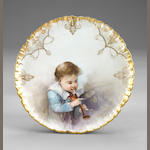 Franz A. Bischoff (1864-1929) Porcelain plate depicting a boy playing a recorder diameter: 8 1/4in