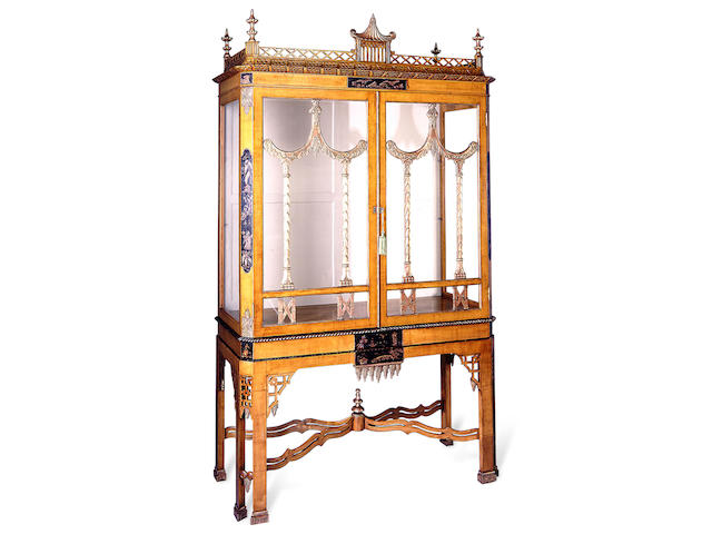 A George III style fruitwood and chinoiserie vitrine cabinet