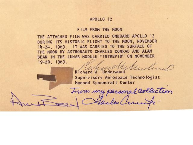 FLOWN APOLLO 12 70MM FILM SEGMENT.