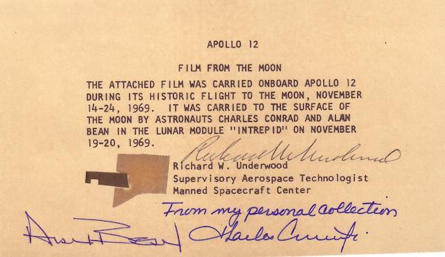 FLOWN APOLLO 12 70MM FILM SEGMENT.