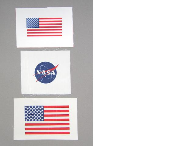 "NASA ""MEATBALL"" AND US FLAGS."