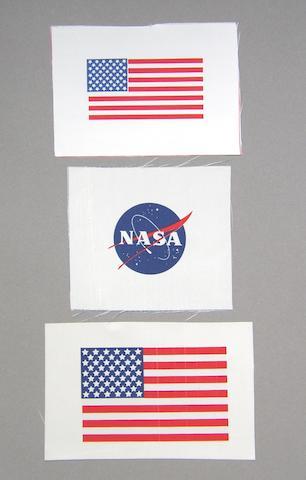 """NASA """"MEATBALL"""" AND US FLAGS."""