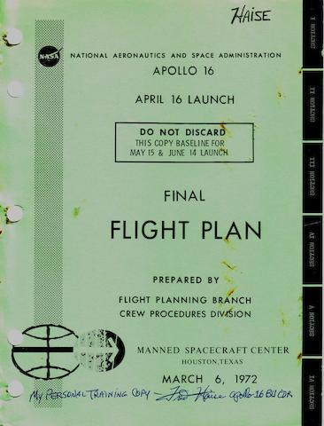 APOLLO 16 FINAL FLIGHT PLAN.