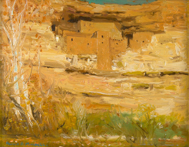 Alfred R. Mitchell (American, 1888-1972) Ancient Dwelling (Montezuma's Castle, Arizona) 8 x 10in