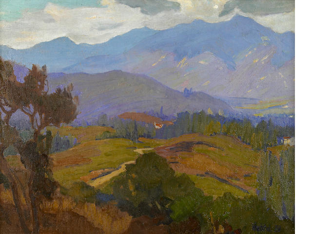 Elmer Wachtel (American, 1864-1929) Houses near Pasadena, Looking West; Sierra Snow Scene (double-sided) 11 x 14 1/4in