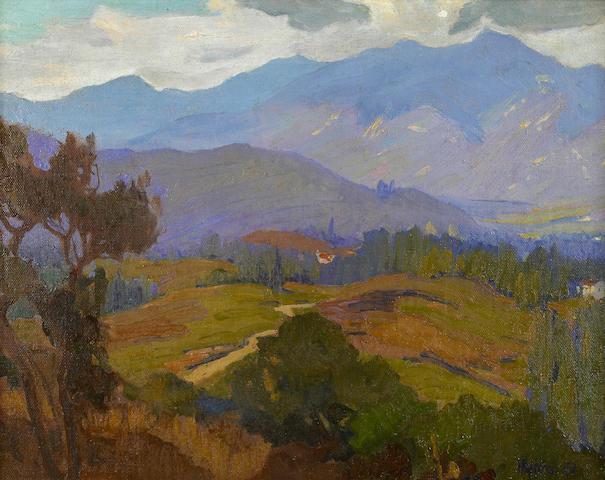 Elmer Wachtel (American, 1864-1929) Houses near Pasadena, Looking West; Sierra Snow Scene (double-sided) 11 x 14 1/4in
