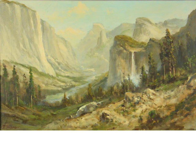 Frederick Ferdinand Schafer (German/American, 1839-1927) 'Yosemite Valley' 16 x 24 1/4in