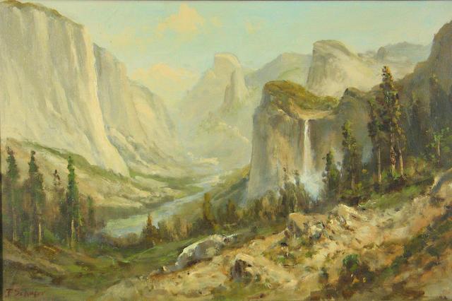 Frederick Ferdinand Schafer (German/American, 1839-1927) 'Yosemite Valley' 16 x 24 1/4in