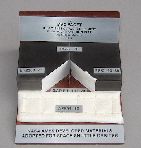 SPACE SHUTTLE THERMAL TILE DISPLAY.