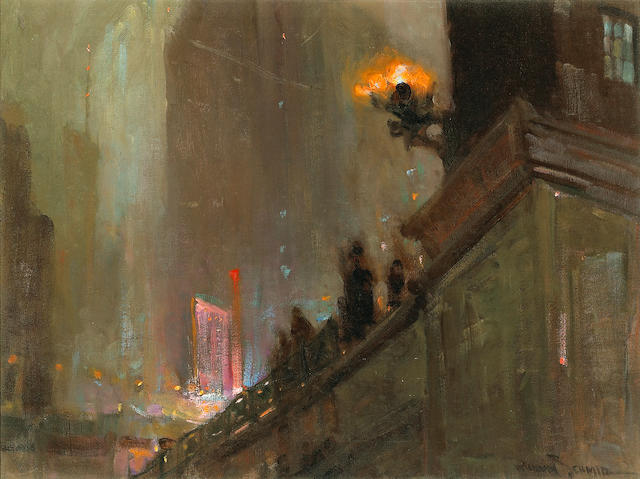 Richard Alan Schmid (American, born 1934) The city lights at night 18 x 24in