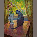 Mischa Askenazy (Russian/American, 1888-1961) Cat and Vase 36 x 28in