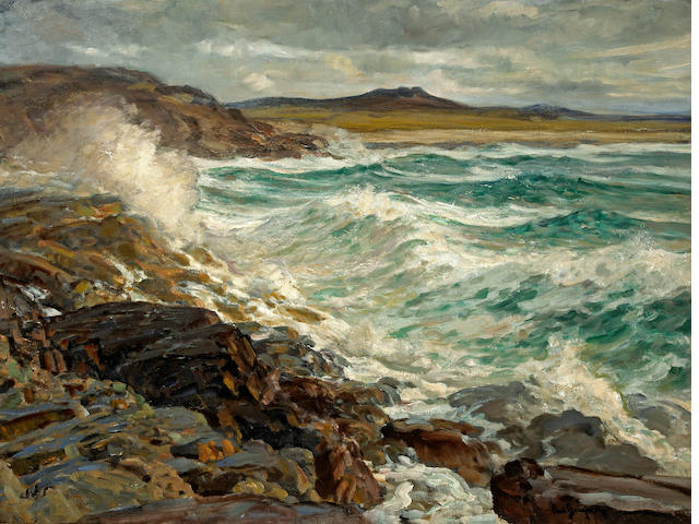 Paul Dougherty (American, 1877-1947) 'Where sand, shore and rock coast meet' 36 1/4 x 48in