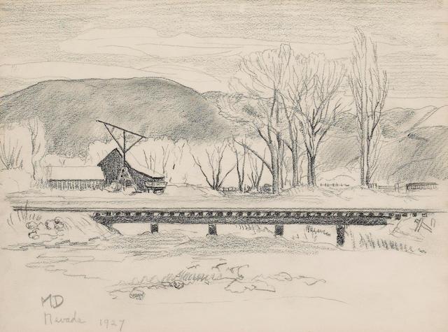 Maynard Dixon, Nevada landscape, pencil/paper