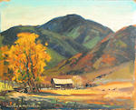 Alfred R. Mitchell (American, 1888-1972) 'Autumn at the Ranch' 8 x 10in