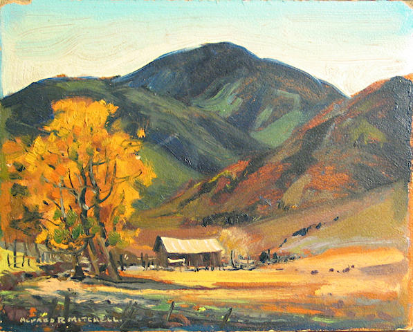 Alfred Mitchell, Autumn at the Ranch, o/bd