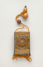 GOLD LACQUERED CLOCK INRO, in the form of an oi, signed Murasada