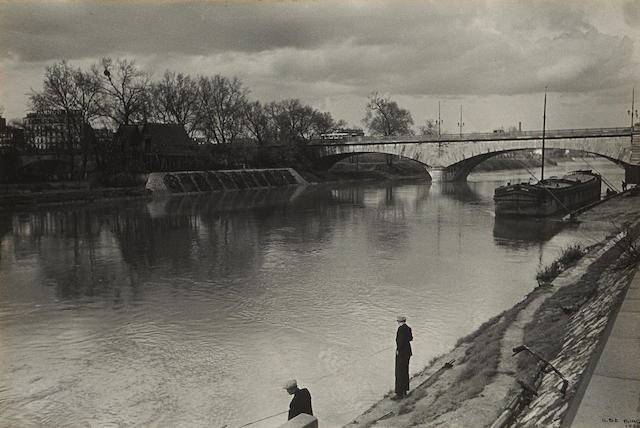 Ilse Bing (German, 1899-1998); Two Anglers at the Seine, Paris;