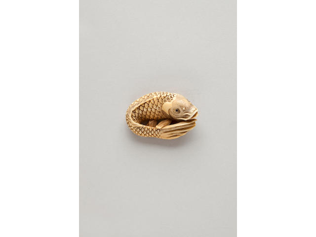 Ivory netsuke of a carp By Masanao (Kyoto, late 18th century)