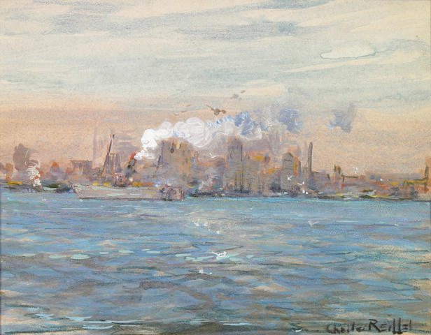 Charles Reiffel (American, 1862-1942) Boats along the New York Skyline 9 x 12in