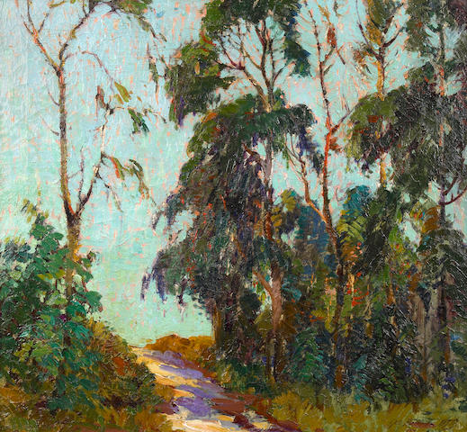 George Demont Otis (American, 1879-1962) A path through the woods 24 x 26in