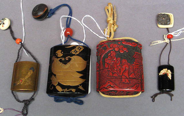 A group of four lacquer decorated inro 19th Century