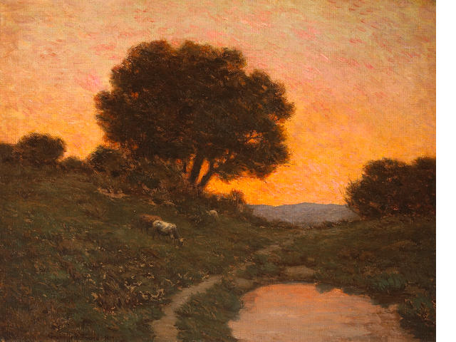 Granville Redmond (American, 1871-1935) Pastoral scene at sunset, 1912 22 x 28in