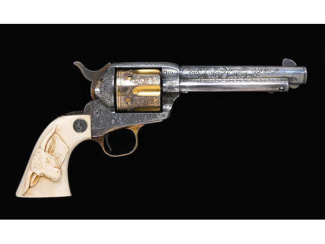 A rare Cuno Helfricht engraved gold and silver-plated Colt single action army revolver