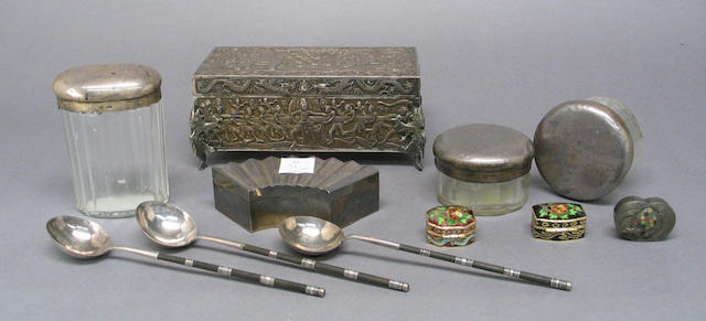 A group of Asian silver objects