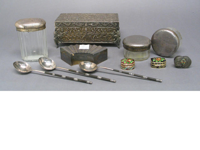 A group of Asian silver containers and ornaments