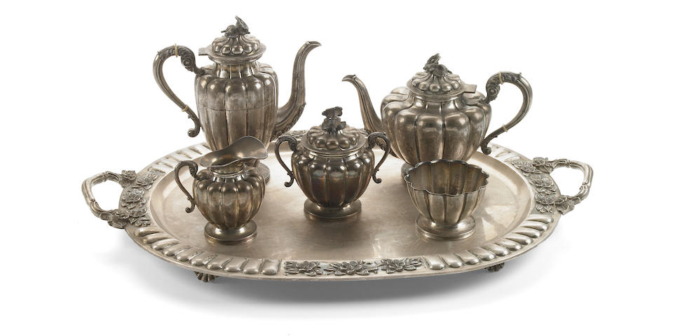 Mexican Sterling Five Piece Tea and Coffee Set with Tray by Sanborns
