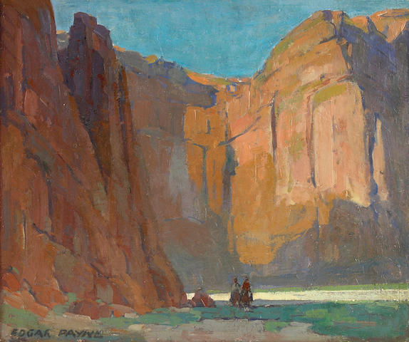 Edgar Payne (1883-1947) Navajos, Canyon de Chelly 20 x 24in