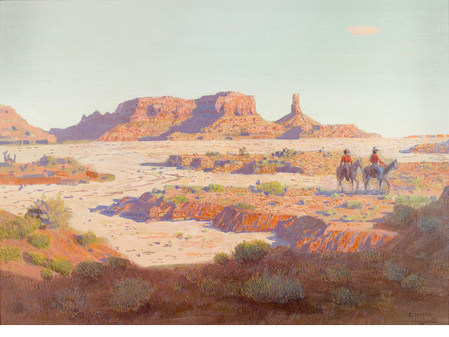Conrad Buff (American, 1886-1975) Riders in Monument Valley 19 x 25 1/2in