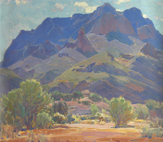 Hanson Puthuff (American, 1875-1972) 'Enduring Ramparts (Superstition Mountains)' 26 x 30in