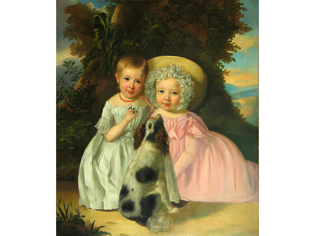 French School, 19th Century A portrait of two girls and their spaniel in a landscape 30 1/4 x 26 1/4in