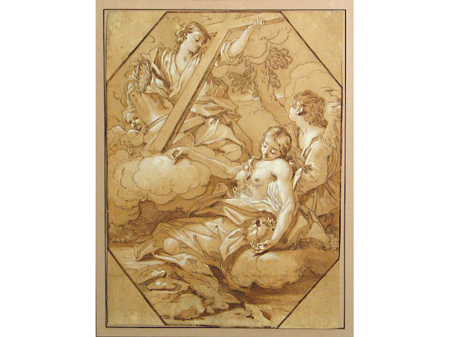Benedetto Luti (Florence 1644-1724 Rome) Mary Magdalene's vision 14 1/2 x 10 3/4in