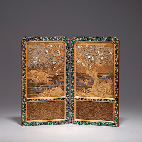 Inlaid-lacquer table screen Late 19th century