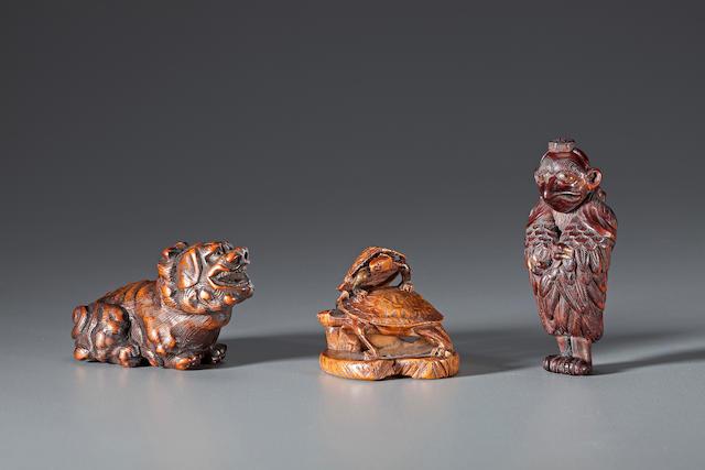 Three wood netsuke 18th-19th century