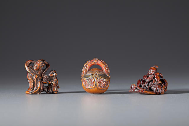 Three wood netsuke 19th century