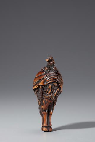Wood netsuke of a horse and rider By Tsuji (Osaka, late 18th century)