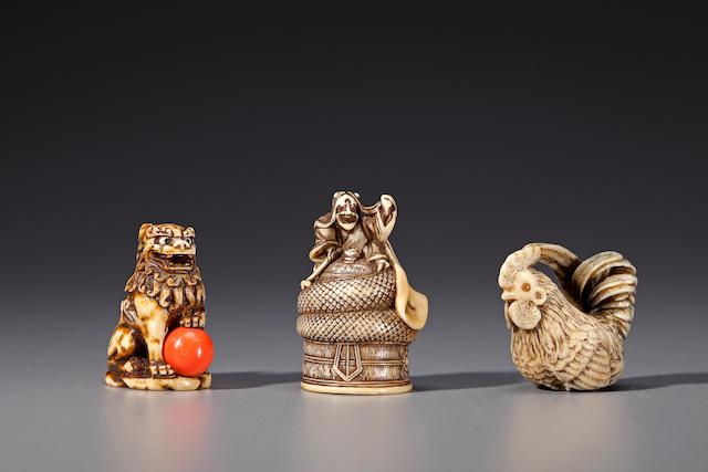 Three ivory netsuke 19th century